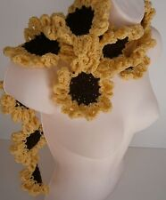 Sunflower Scarf Handmade Crocher Knit Neckwarmer Lariat