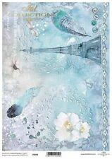Printed Translucent Vellum Scrapbook  Paper A4 Paris Blue