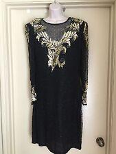LAURENCE KAZAR 100% Pure Silk Prom Formal Black Sequin Beaded Dress SIZE L