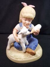 Homco Denim Days bisque figurine small girl feeding lamb 1985