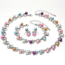 Fashion Silver Plated Rhinestone Pearl Necklace Earrings Bracelet Jewelry Sets
