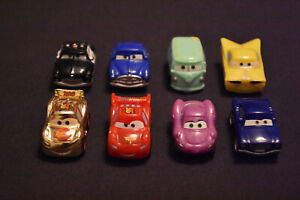 Disney Pixar Cars Micro Drifters - Lot of 8 - includes Gold Lightning McQueen!