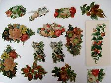 Mixed Lot of Vintage Die-Cuts For Scrap Booking w/ Embossed Birds & Hands *