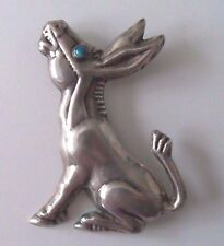 Huge vintage Mexican Silver DONKEY Burro brooch stone eye fabulous figural pin
