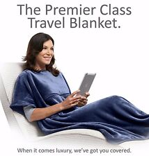 Travelrest NAVY 4-in-1 Premier Class Poncho Travel Blanket w/ Pocket - Luxurious