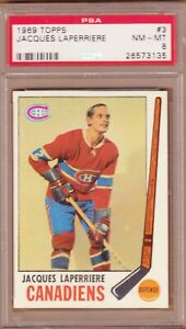 1969-70 TOPPS # 03 JACQUES LAPERRIERE PSA 8 NM-MT CANADIENS MONTREAL