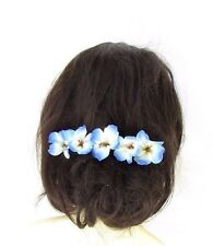 5 x Light Blue White Hibiscus Flower Hair Pins Clips Beach Bridal Hawaiian 2431