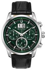 Bulova Classic Sutton Chronograph Green Dial Leather Band Men's Watch 96B310