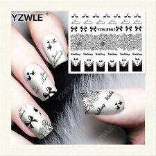 Valentines Nail Art Water Decals Stickers Love Wedding Just Married Tuxedo Bows