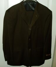 New Men's Galliano Couture 46 Short Brown Sharkskin Wool Suit & Pleated Slacks