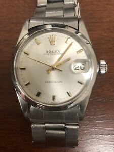 Rolex Oysterdate Silver Dial Manual winding Men's Watch 6466