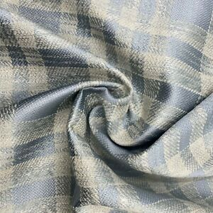 Woven Check Silver/Blue Upholstery Fabric Material 140cm wide CHAT NO. 331A