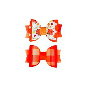 """Dog Hair Bows- 2.5"""" Fall Autumn Thanksgiving Feast Pumpkin Faux Leather Stacked"""