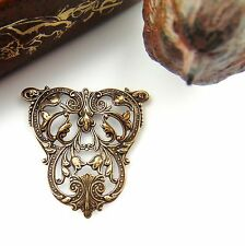 ANTIQUE BRASS Floral Tulip Crest Stamping ~ Jewelry Finding (FA-6074) *