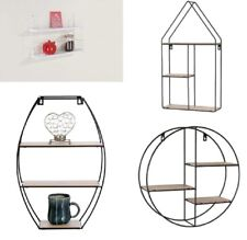 Metal Wire Wood Wall Shelf Modern Round / Oval / House Shape Storage Shelf Black