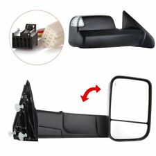 Black Pair Power Heated Towing Mirrors For 2009-15 Ram 1500 Pickup Signal Light
