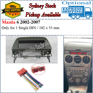 Harness + Fascia facia Fits Mazda 6 2002-2007 Grey Single One 1 Din Dash Kit