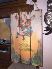 Adorable Hanging Easter Bunny Board Colorful Vintage Graphics 16 1/2� X 10 1/2�