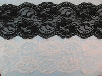 "Floral Scallop Edge Lace Elastic Stretch Lace 4"" BLACK or WHITE"