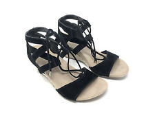 94e8e433cdfd VIONIC  Noble Tansy  BLACK Suede Lace-Up Espadrille Wedges ...