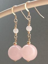 Beautiful Round Rose Quartz Gemstones 14ct Rolled Gold Drop Earrings