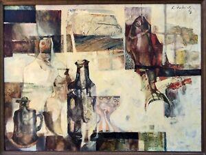 Manfred Dietrich (Italian); 'Pesce y Bottiglie' 1967. Cubist Still Life Painting