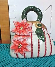 Christmas Cookie Jar, Purse, David's,Hand Painted, Poinseitta Theme, Collectible