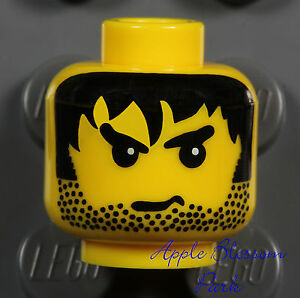 NEW Lego Male MINIFIG HEAD Boy w/Black Hair Beard Stubble -Police/Pirate/Castle
