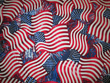 Wavy Flag Americana USA Red Cotton Fabric BTHY