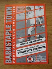 14/12/1991 Barnstaple Town v Bath City Reserves [Western League]  (Item Has No A