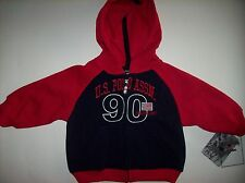 U.S. Polo Assn. Hoodie Size 12 Months Red White Blue Athletic Flag NWT
