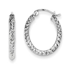 925 Sterling Silver Rhodium Plated Diamond Cut Oval Hoop Earrings 2.4mm x 20mm
