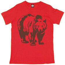 Marrón Oso Animal Hombre Estampado Moderno Camiseta