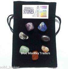 Pouch Of 7 Healing Reiki Crystals Tumble Palm Stones For Healing Chakras Energy