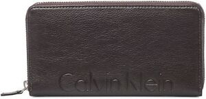 Calvin Klein CK Logo Brown Leather Zip Around Women Men's Wallet CK 79474