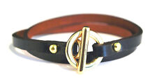 "Black or Brown Genuine Leather Wrap Bracelet with Gold Toggle 14"" - Gift Boxed"