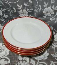 "SET 4 - 10 1/4"" Crate And Barrel Dinner Plates White Red Gold Trim Christmas"