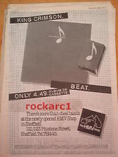 KING CRIMSON Beat (HMV) 1982 UK Poster size Press ADVERT 16x12 inches