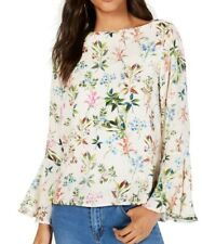 Karen Kane Women's Blouse White Ivory Size Medium M Bell Sleeve Floral $98 #555