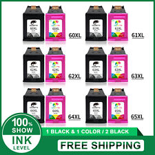 New Chip Combo Black & Color Ink Cartridge for HP 61XL 63XL 65XL 60XL 62XL 64XL