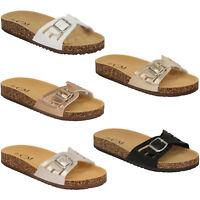 Ladies Slippers Slip On Flat Mule Sandals Womens Sliders Patent Cork Flip Flops