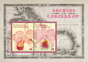 St. Vincent 2014 - Orchids of the Caribbean Flowers II - Sheet of 2 Stamps - MNH