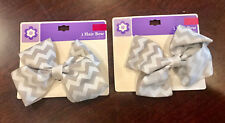 Set Of 12 Beautiful White & Gray Hair Bow Clip New