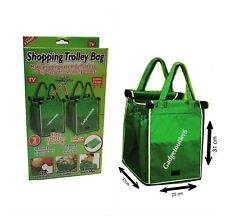 2 NEW SHOPPING TROLLEY BAGS SUPERMARKET TROLLEY FOLDABLE REUSEABLE GRAB CLIPS