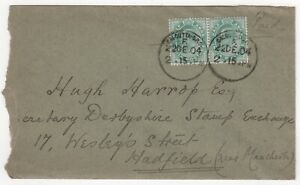 1904 INDIA KEVII Cover CALCUTTA GPO to HADFIELD MANCHESTER GB 1/2a green