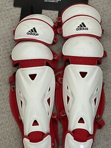 """Adidas Baseball Pro Series Catcher's Leg Guards 2.0 White Red 15.5"""" MSRP 140"""
