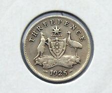1925  Australian  King George  V  Threepence,  good value. save dollars, $$$