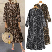 Women Long Sleeve Leopard Vintage Casual Shirt Dress Oversized Maxi Long Dresses