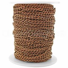 Curb Chain Spool - 30 Feet - Antique Copper - 3x5mm Link - Bulk Roll