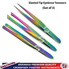 Beauty Eyebrow Plucking Tweezers Multi-Color Coated ingrown Hair Removal 3PCs